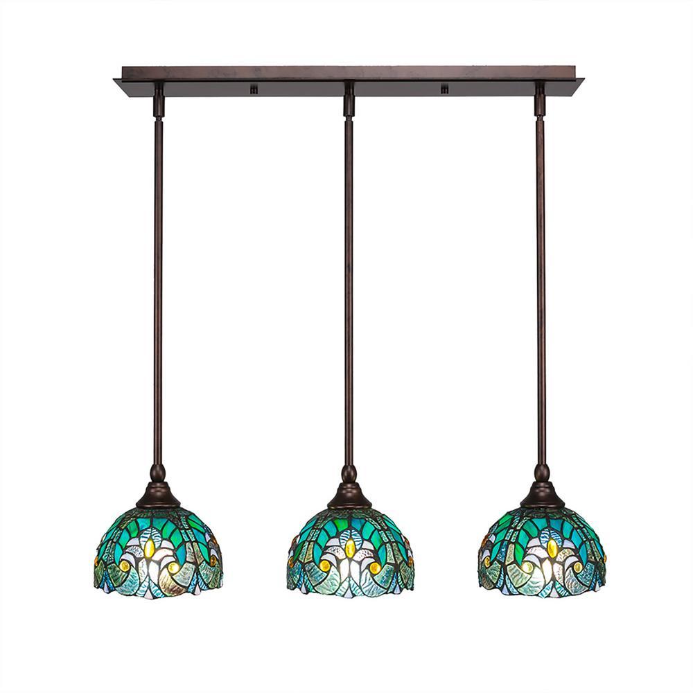 Cambridge 3 Light Bronze Island Pendant With Turquoise Cypress Tiffany Style Gl