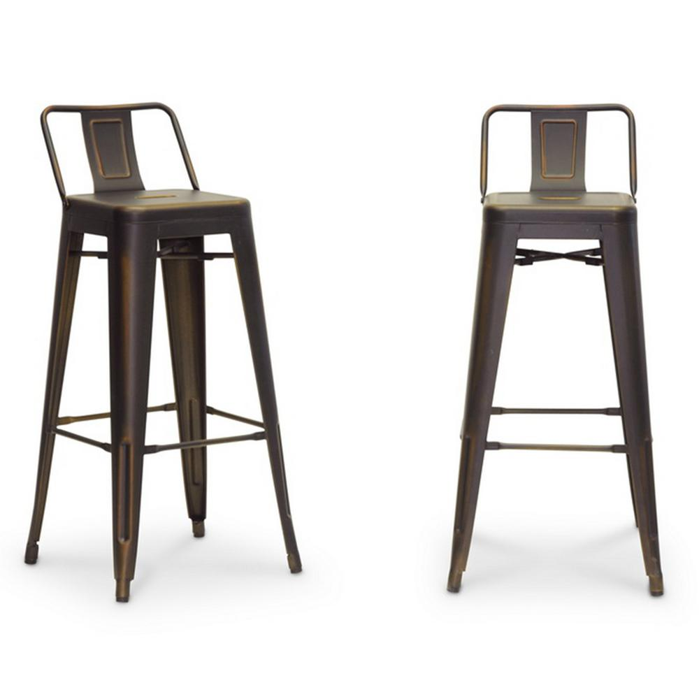 Baxton Studio Baxton Silver Antique Cooper Finished Metal 2-Piece Bar Stool Set-2PC-5171-HD - The Home Depot  sc 1 st  The Home Depot & Baxton Studio Baxton Silver Antique Cooper Finished Metal 2-Piece ... islam-shia.org