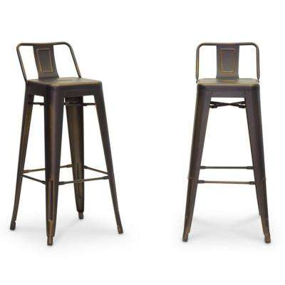 Baxton Studio Baxton Silver Antique Cooper Finished Metal 2-Piece Bar Stool Set by Bar Stool Sets