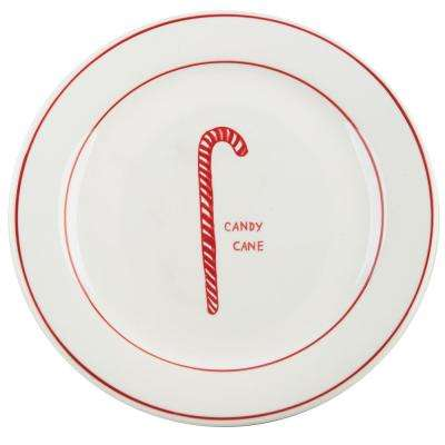Molly Hatch 8.5 in. D Candy Cane Salad Plate