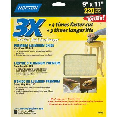 Norton 9 in. x 11 in. 220-Grit 3X Sanding Sheets (3-Pack)