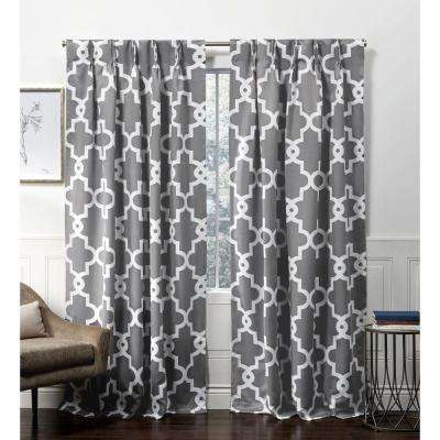 Ironwork PP Black Pearl Blackout Triple Pinch Pleat Top Curtain Panel - 27 in. W x 84 in. L (2-Panel)