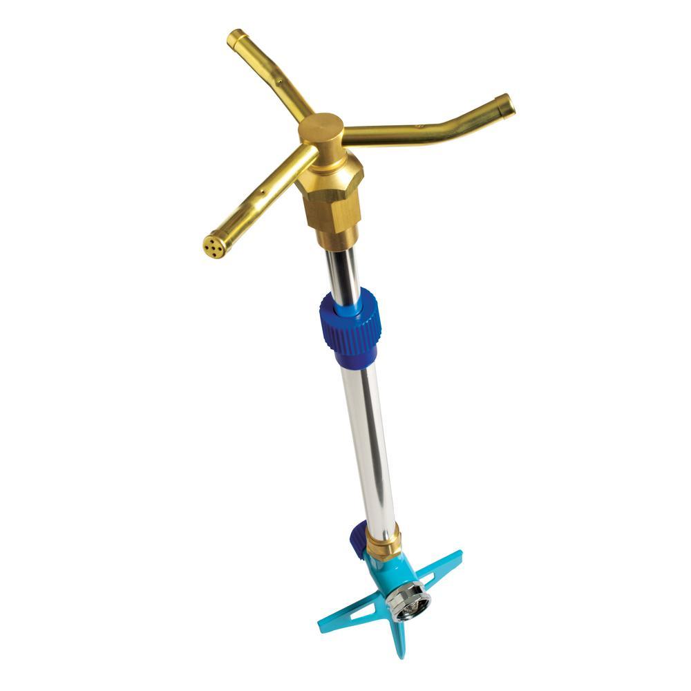 360-Degree 3-Arm Brass Rotary Telescoping Sprinkler
