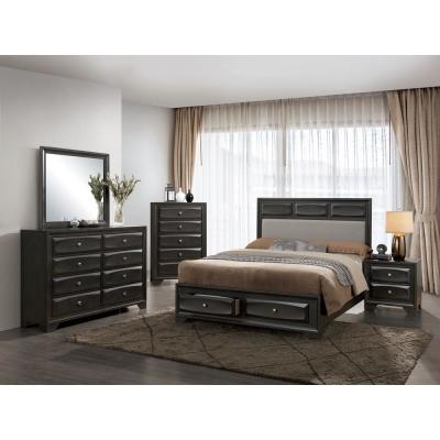 Clotilde Cal.King Bed in Gray finish
