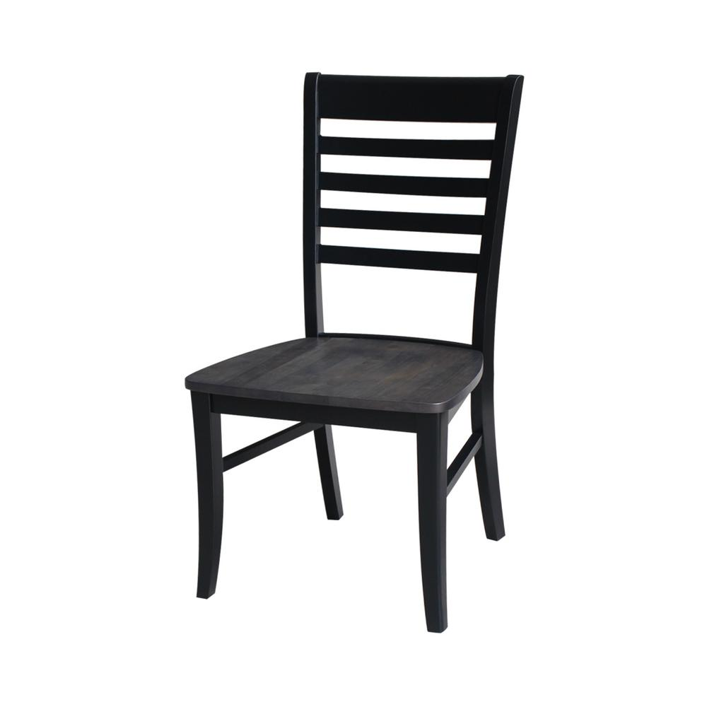 International Concepts Black/Coal Roma Ladderback Chair (Set Of 2)