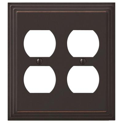 Tiered 2 Gang Duplex Metal Wall Plate - Aged Bronze