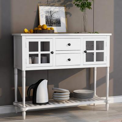 White Sideboard Console Table with Bottom Shelf