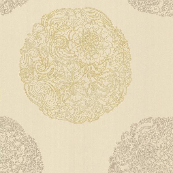 Kenneth James Cordova Taupe Medallion Wallpaper 2618-21357
