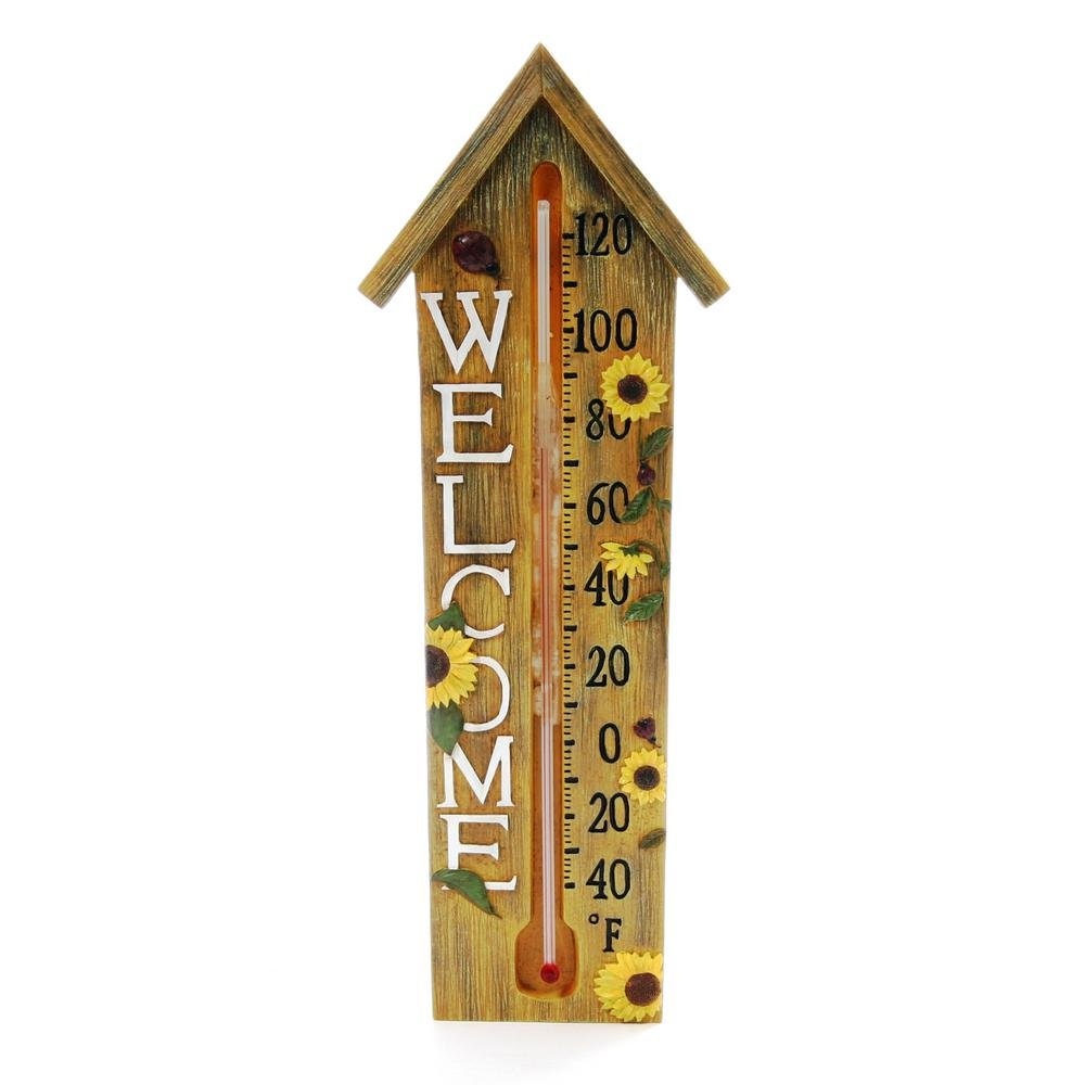 Springfield Analog Thermometer With Decorative Poly Resin Wood Welcome Design 91844 The Home Depot