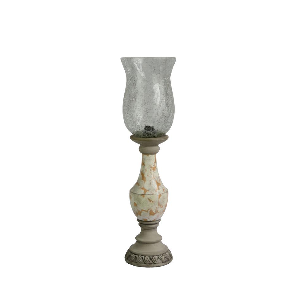 Fangio Lighting 22 in. Antique White and Concrete Grey Resin Art Deco Uplight with Clear Crackle Glass