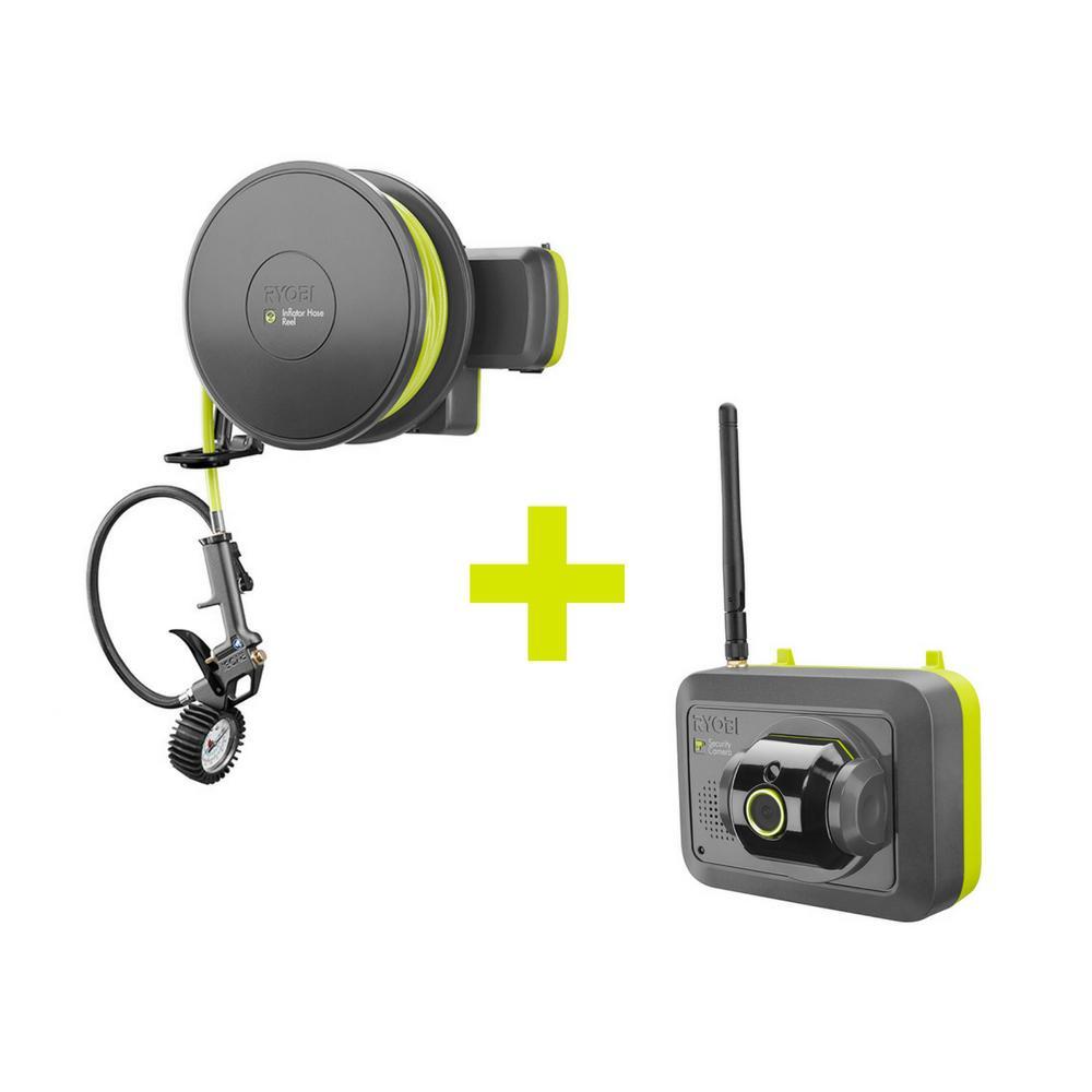 Ryobi Garage Security Camera with High Pressure Air Inflator Accessory by Ryobi