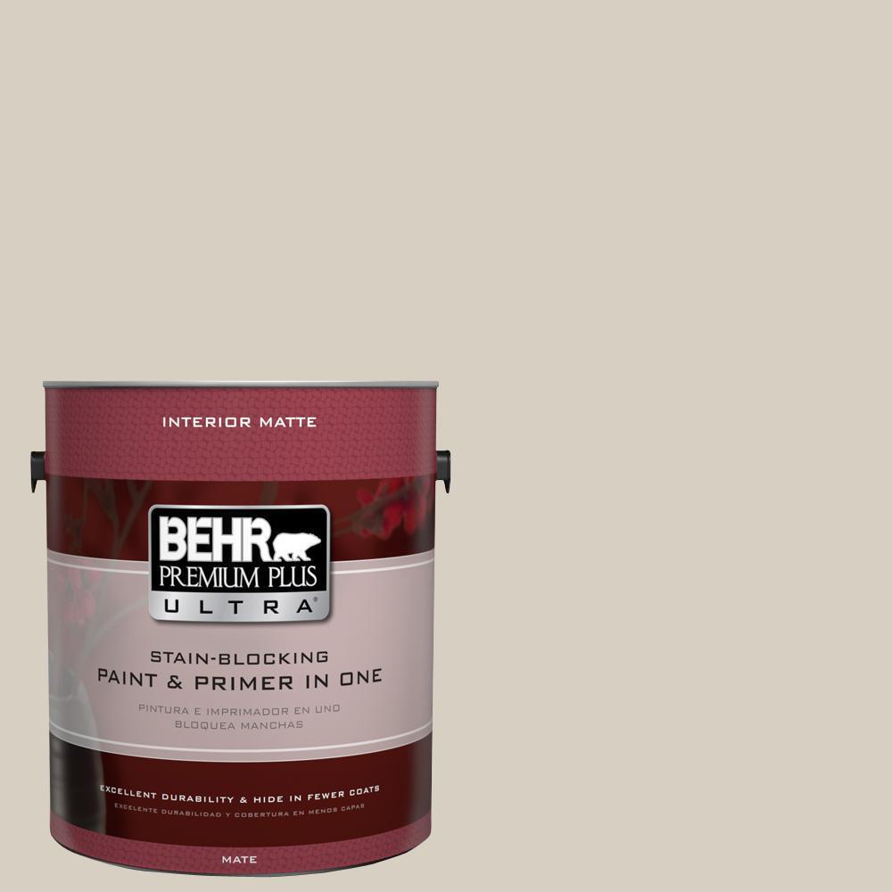 BEHR Premium Plus Ultra 1 gal. #UL170-10 Aged Beige Interior Flat Enamel Paint