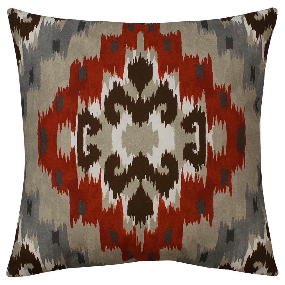Pueblo Ikat Quarry Red Outdoor Throw Pillow