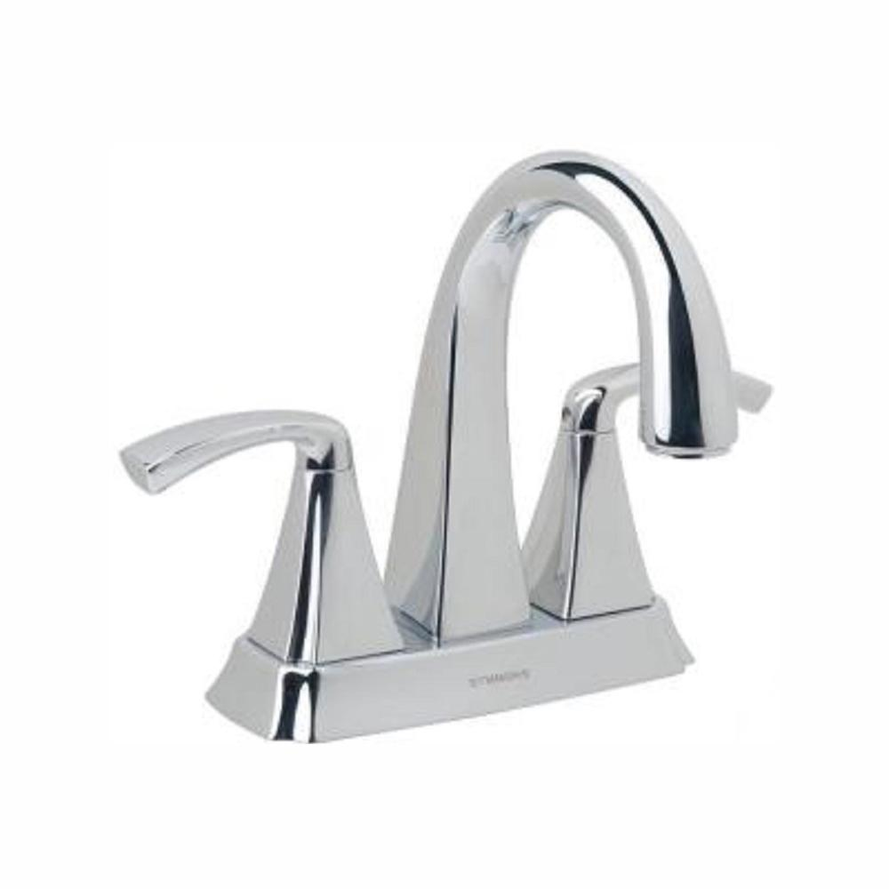 Symmons Bramwell 4 in. Centerset 2-Handle Mid-Arc Bathroom Faucet in Chrome