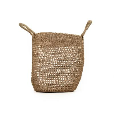 Cylindrical Sparsely Hand Woven Seagrass Medium Basket with Handles