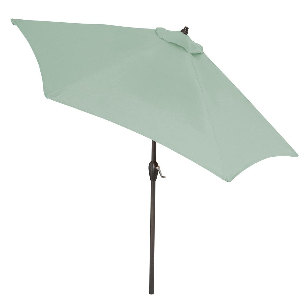 93a2c532cd Plantation Patterns 9 ft. Aluminum Market Tilt Patio Umbrella in Sunbrella  Canvas Spa