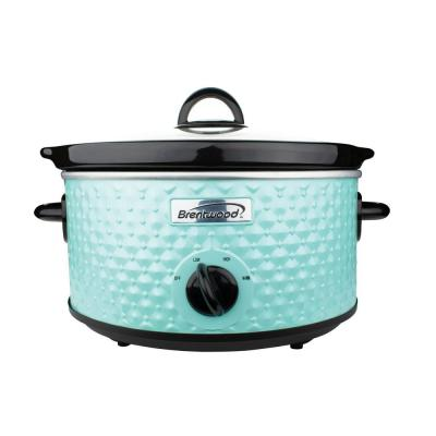Diamond 3.5 Qt. Blue Slow Cooker with Tempered Glass Lid