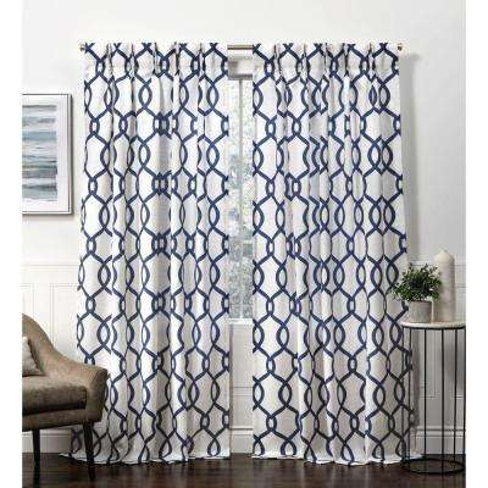 Kochi Indigo  Room Darkening Triple Pinch Pleat Top Curtain Panel -  27 in. W x 84 in. L  (2-Panel)