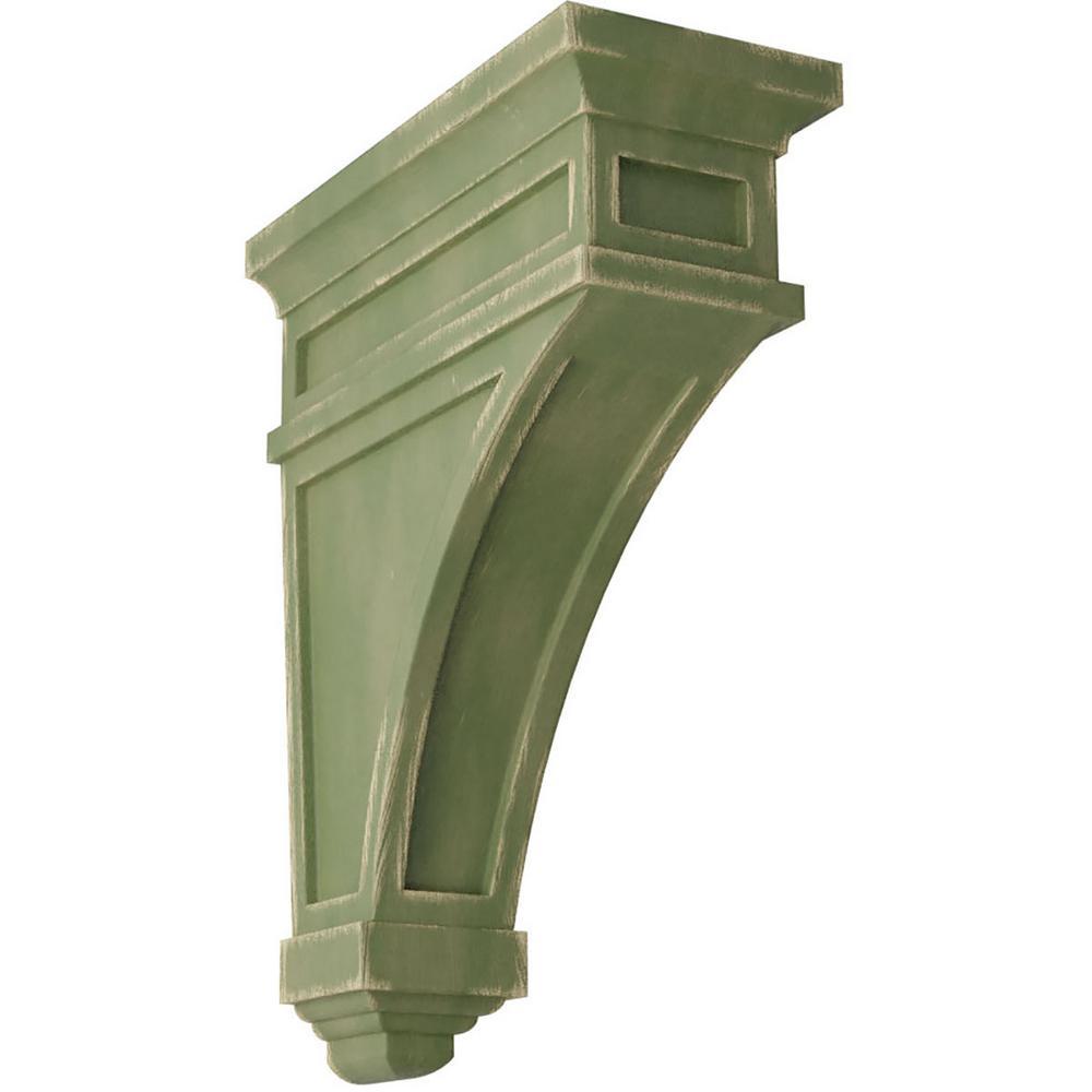4-1/2 in. x 13-3/4 in. x 10 in. Restoration Green Arlington Wood Vintage Decor Corbel