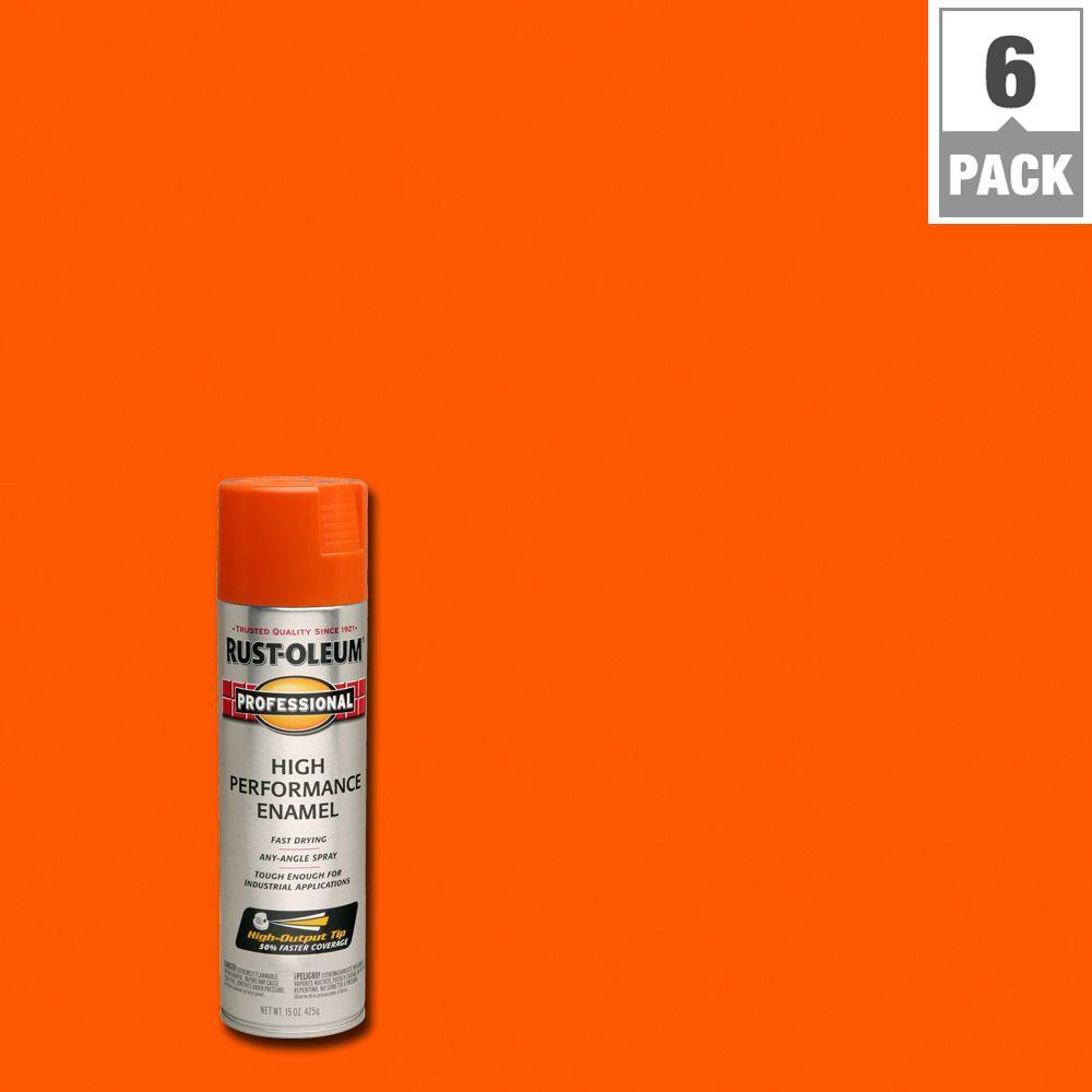 15 oz. High Performance Enamel Gloss Safety Orange Spray Paint (6-Pack)