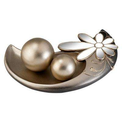 Gold Floral Glamour Polyresin Decorative Bowl With Spheres