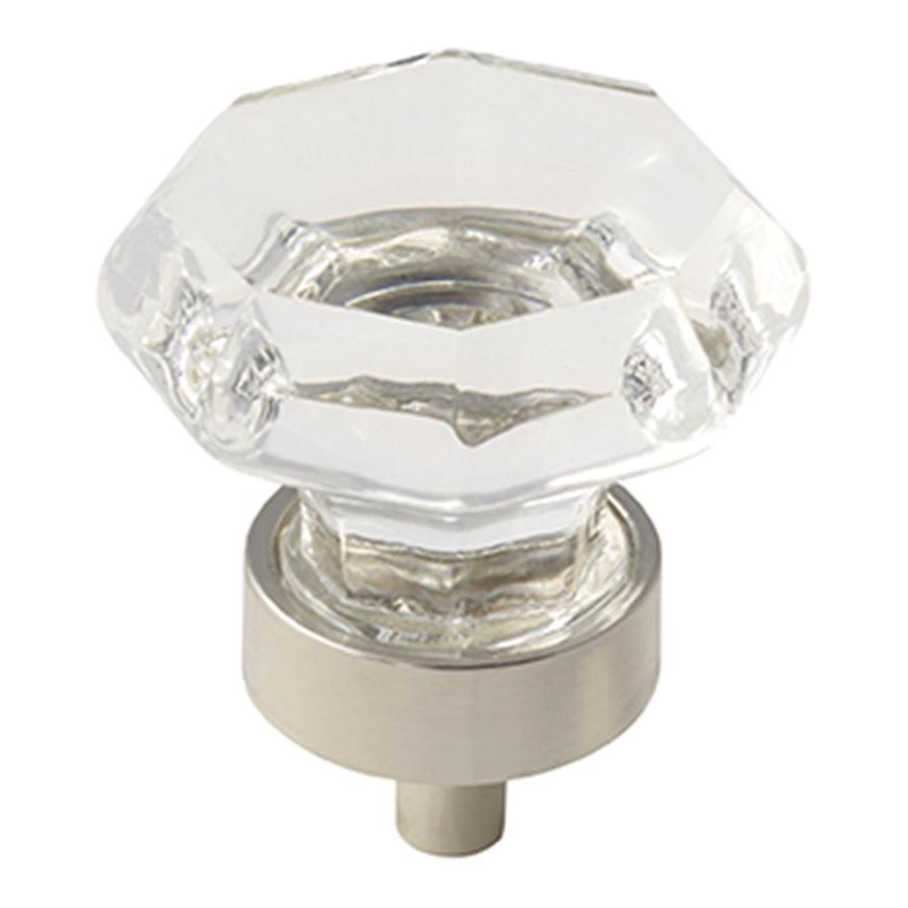 Traditional Classics 1-1/8 in. (29 mm) Clear Glass/Polished Nickel Cabinet Knob