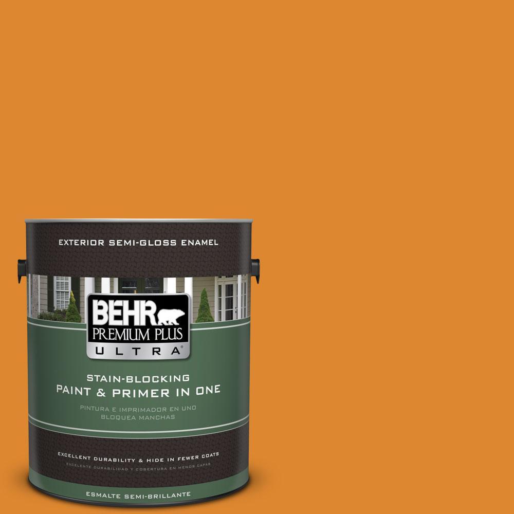 BEHR Premium Plus Ultra 1-gal. #280B-7 Status Bronze Semi-Gloss Enamel Exterior Paint