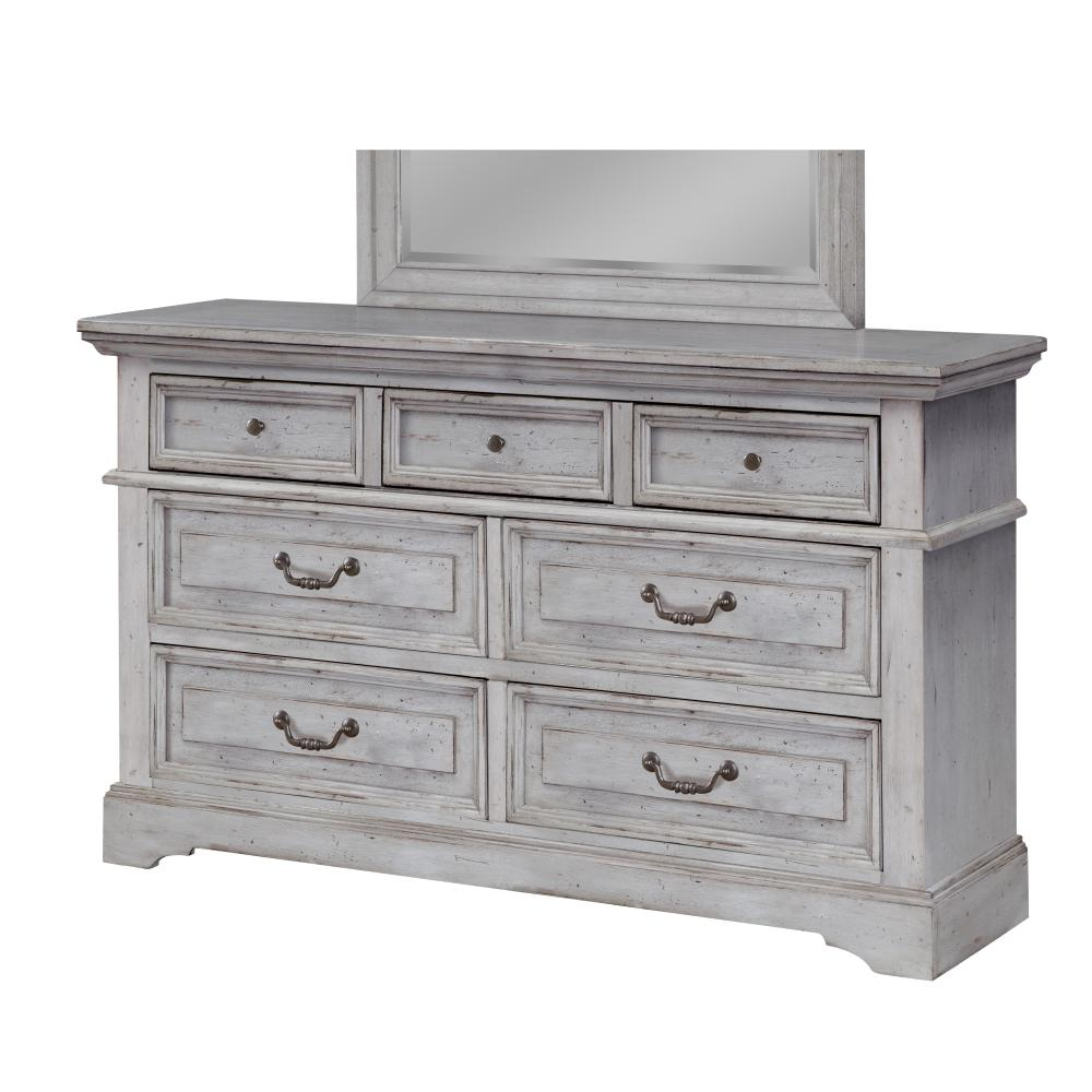 American woodcrafters stonebrook 7 drawer antique grey dresser