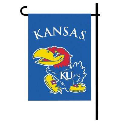 NCAA 13 in. x 18 in. Kansas 2-Sided Garden Flag Set with 4 ft. Metal Flag Stand