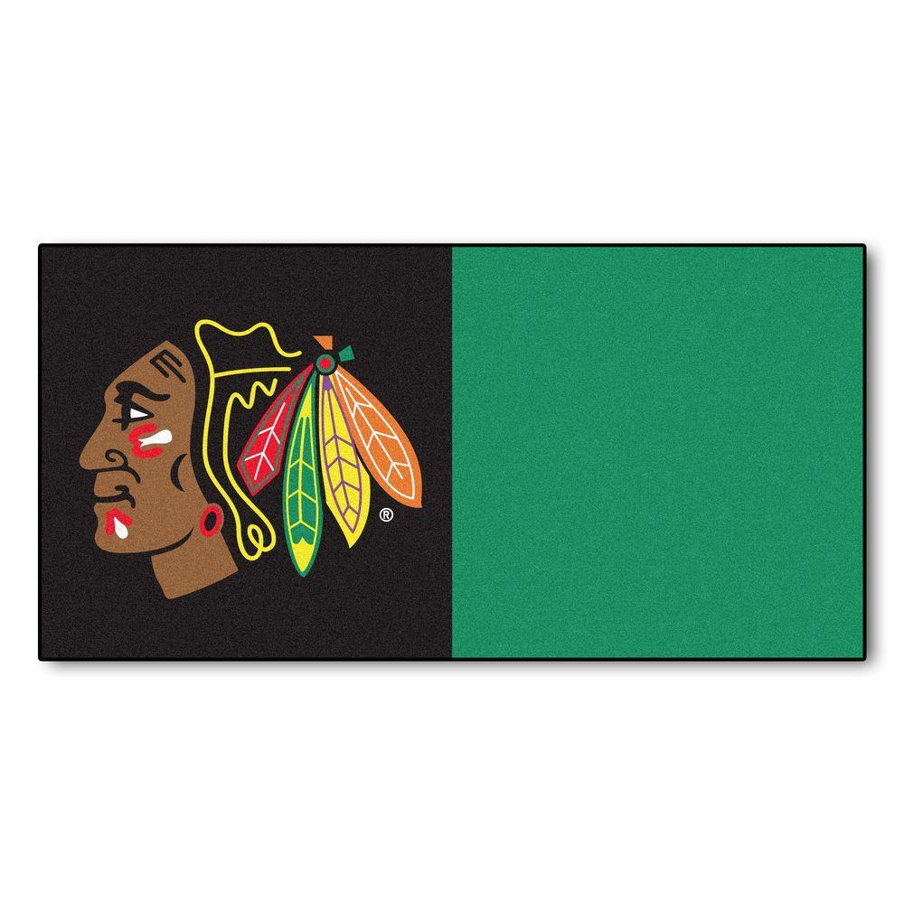 FANMATS NHL - Chicago Blackhawks Black and Green Pattern 18 in. x 18 in. Carpet Tile (20 Tiles/Case)