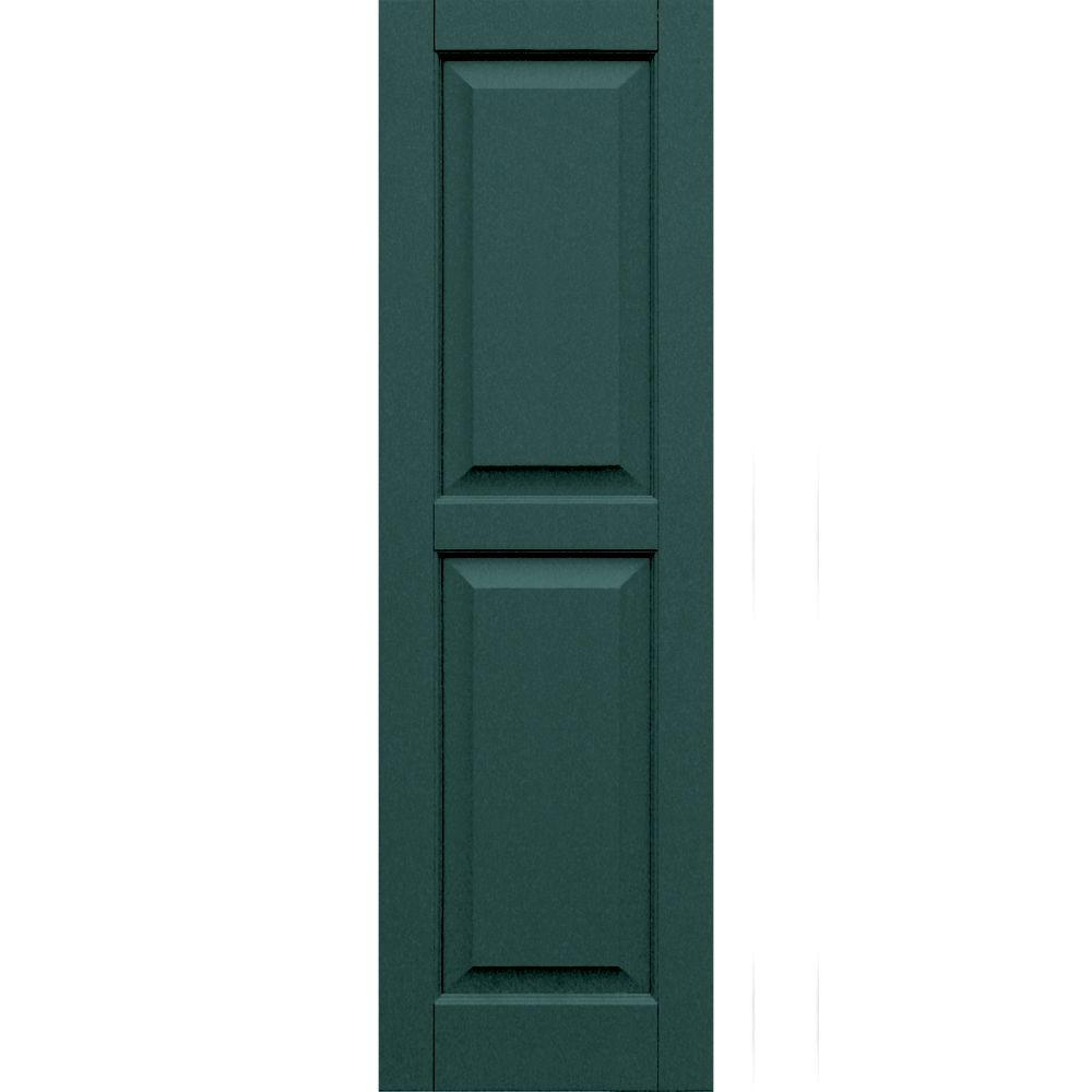 Winworks Wood Composite 15 in. x 49 in. Raised Panel Shutters Pair #633 Forest Green
