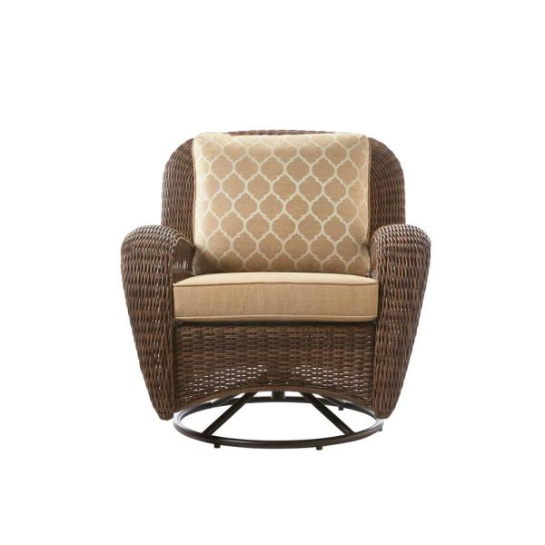 Beacon Park Brown Wicker Outdoor Patio Swivel Lounge Chair with Toffee Trellis Tan Cushions