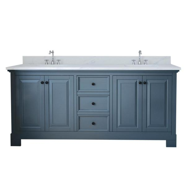 Eastwood 72 in. W x 34 in. H Bath Vanity in Gray with Marble Vanity Top in White with White Basin