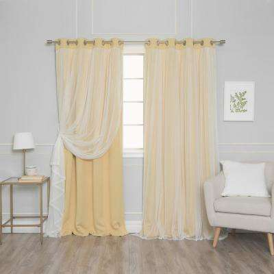 96 in. L Marry Me Lace Overlay Blackout Curtain Panel in Sunlight (2-Pack)