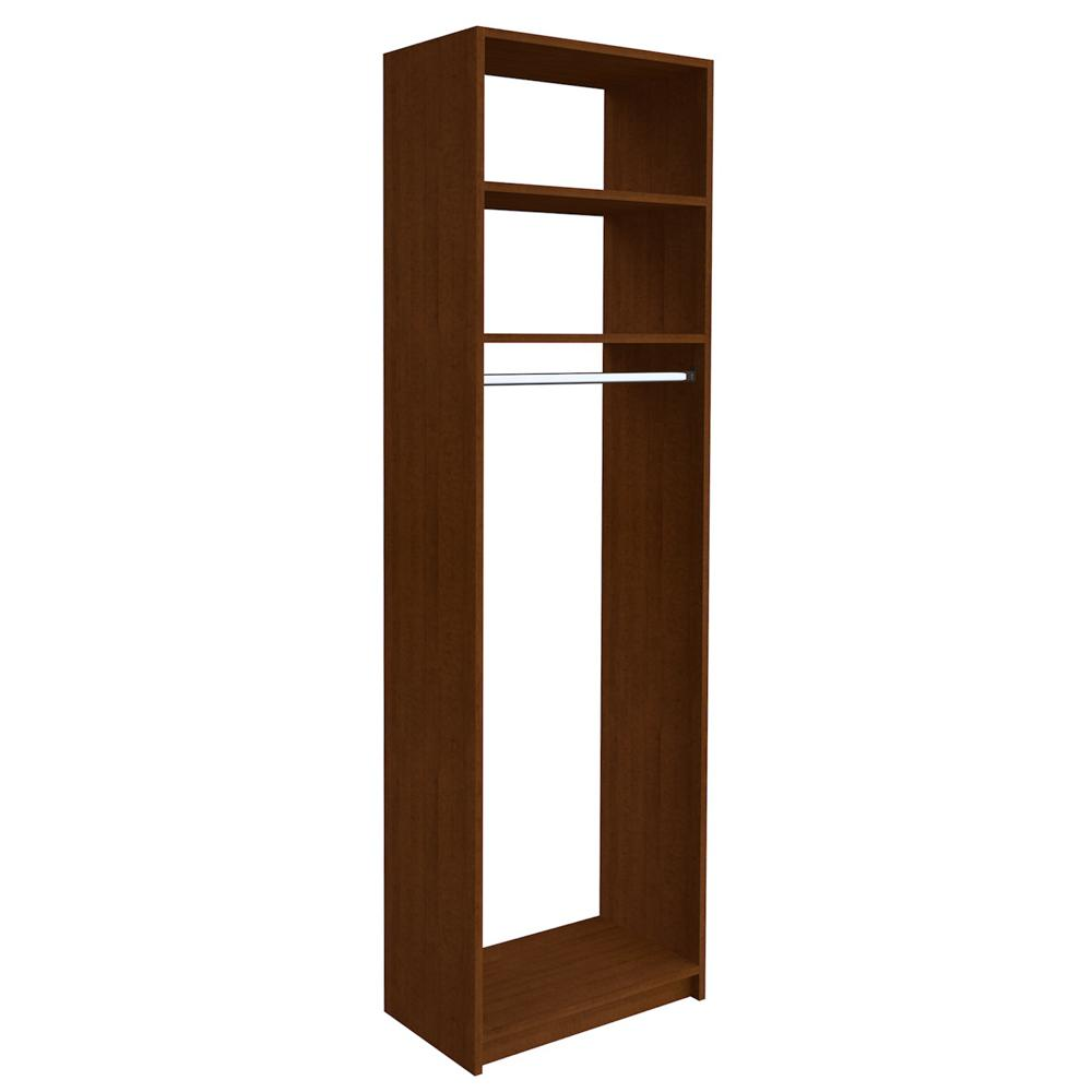 SimplyNeu 14 in. D x 25.375 in. W x 84 in. H Cognac Cherry Medium Hanging Tower Wood Closet System Kit