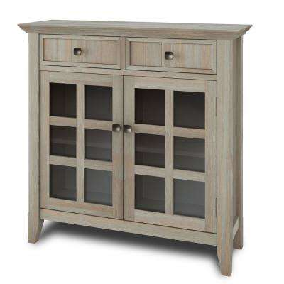 Brunswick Distressed 36 in. Grey Wide Rustic Entryway Hallway Storage Cabinet with Solid Wood