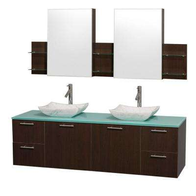 Amare 72 in. Double Vanity in Espresso with Glass Vanity Top in Aqua and Carrara Marble Sinks