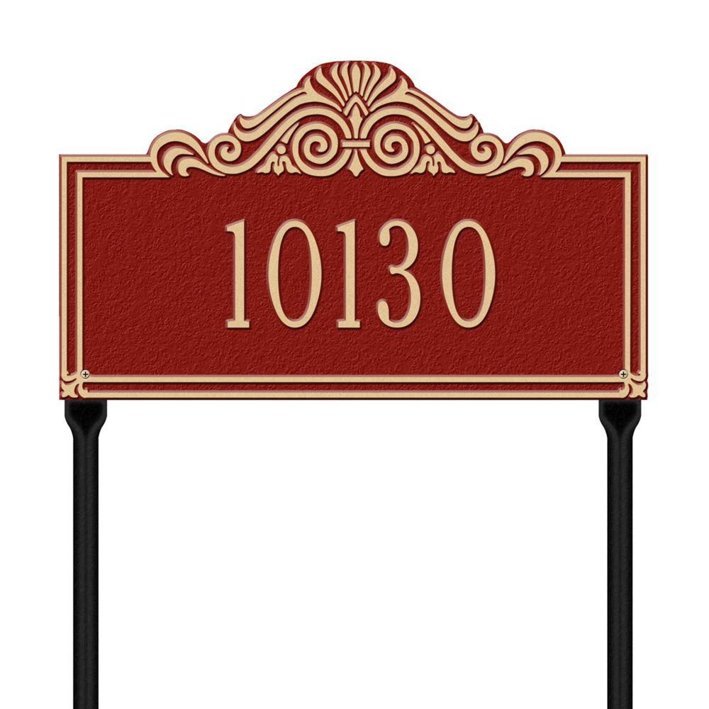 Whitehall Products Villa Nova Rectangular Red/Gold Standard Lawn One Line Address Plaque