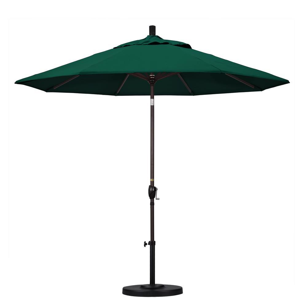 9 ft. Bronze Aluminum Pole Market Aluminum Ribs Push Tilt Crank Lift Patio Umbrella in Forest Green Sunbrella