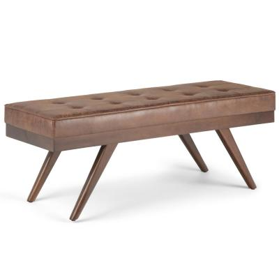 Pierce 48 in. Mid Century Modern Ottoman Bench in Distressed Umber Brown Fabric