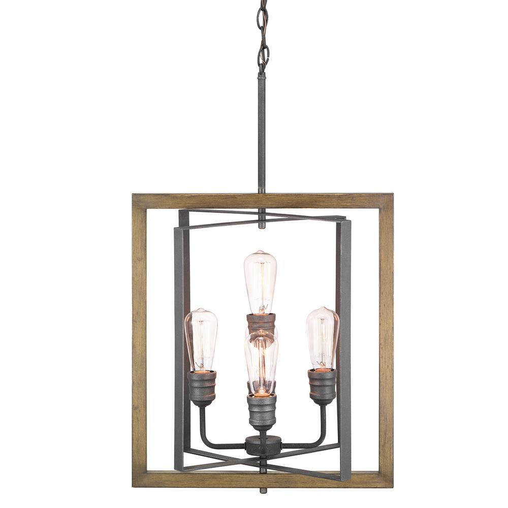 Home Decorators Collection Palermo Grove 5-Light Gilded Iron Pendant with Painted Walnut Wood Accents