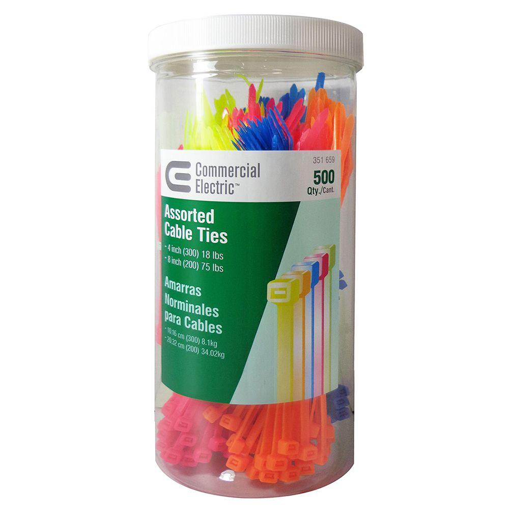910b9d714a52 Commercial Electric. 4 in. and 8 in. Cable Tie Canister - Assorted  (500-Pack)