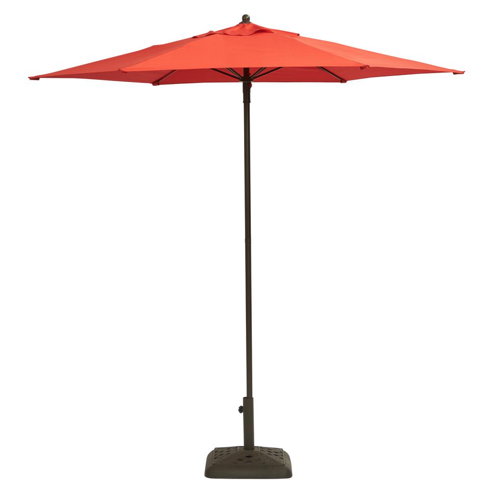 Hampton Bay 7 1 2 Ft Steel Push Up Patio Umbrella In Cafe Uts00203e