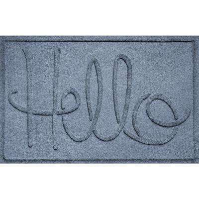 Simple Hello Bluestone 24 in. x 36 in. Polypropylene Door Mat