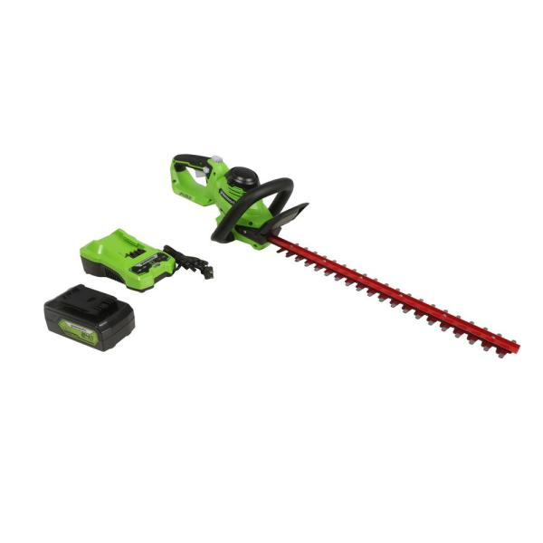 24-Volt 22 in. (Laser Cut) Hedge Trimmer, 4 Ah USB Battery and Charger Included