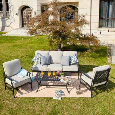 4-Piece Metal Patio Conversation Set with Beige Cushions