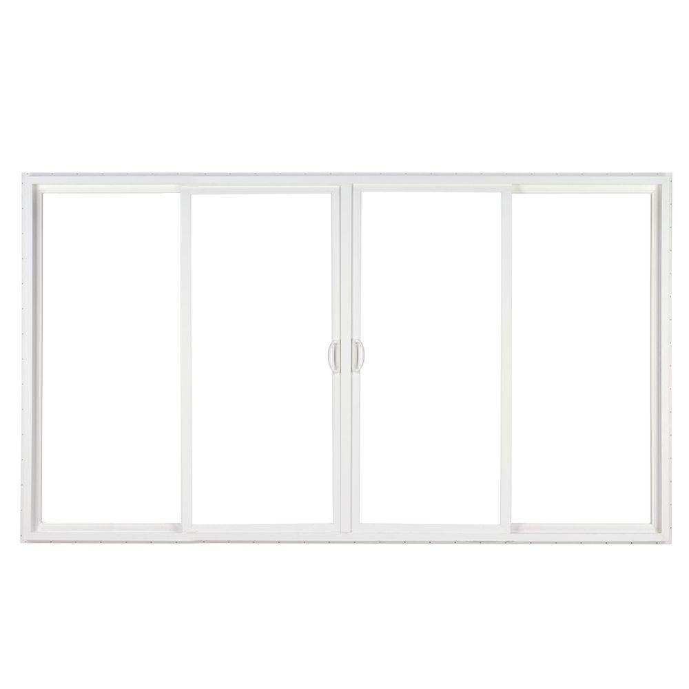 4 Panel Contemporary Vinyl Sliding Patio Door