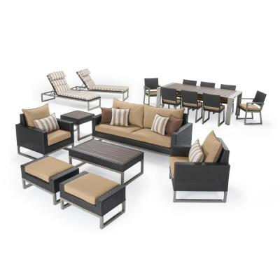Milo Espresso 18-Pieces Estate Conversation Set with Maxim Beige Cushions