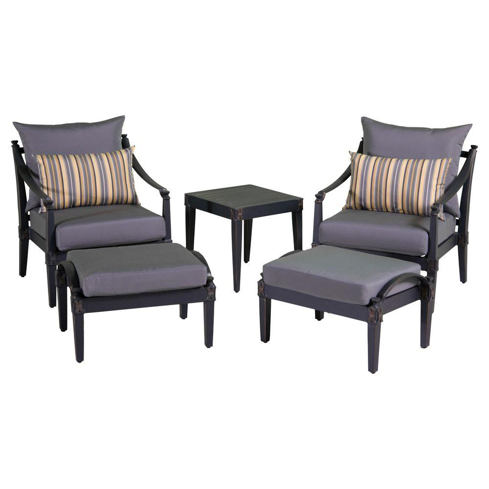 RST Brands Astoria 5 Piece Patio Chat Set With Charcoal Grey Cushions