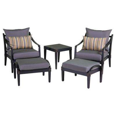 Astoria 5-Piece Patio Chat Set with Charcoal Grey Cushions